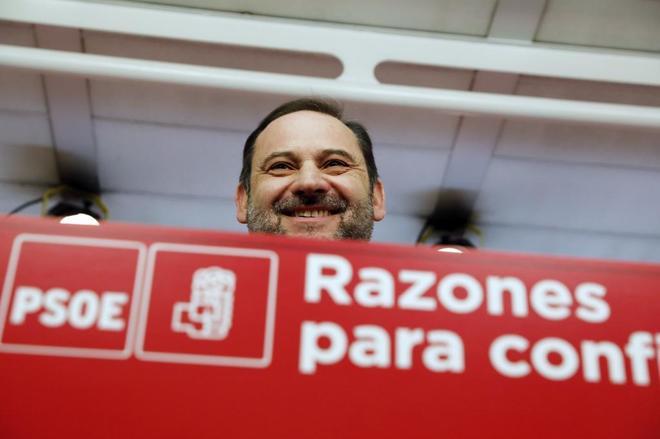 José Luis Ábalos, en la rueda de prensa de este martes en la sede del PSOE.