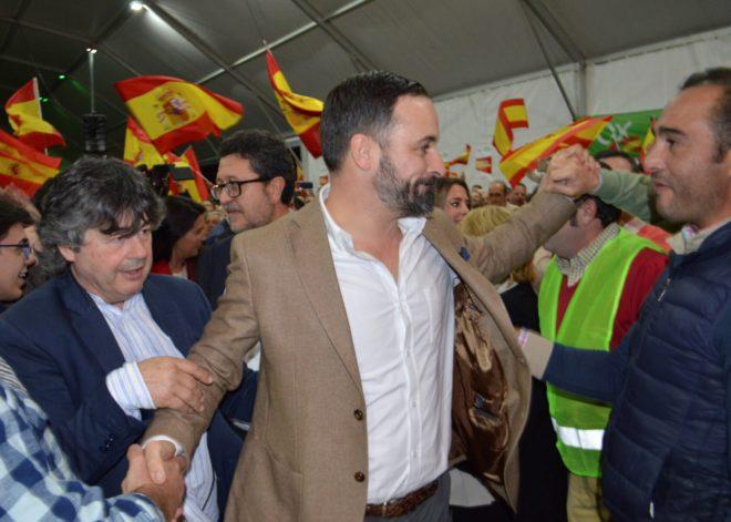 Santiago Abascal, líder de Vox, en un acto electoral en Andalucía.