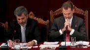 El Rey, con el presidente del Supremo y del CGPJ en el acto celebrado...