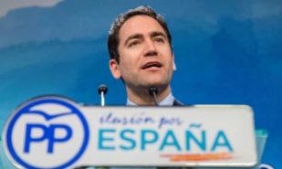 Teodoro García Egea, en la rueda de prensa ofrecida en Madrid esta...