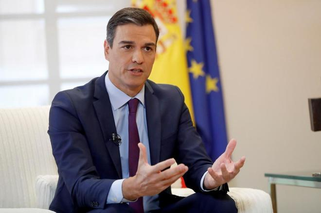 Pedro Sánchez, durante una entrevista con la Agencia Efe, este fin de semana.