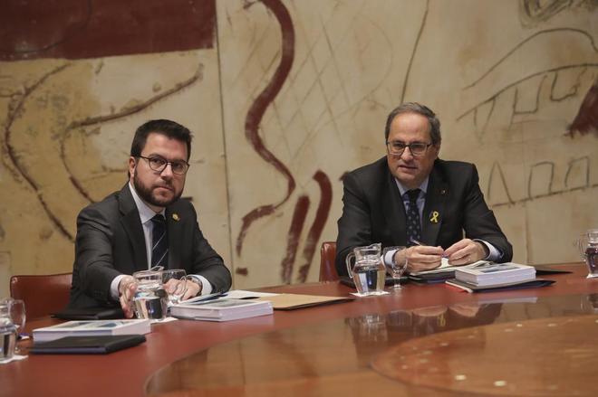 Quim Torra y el vicepresidente Pere Aragonès en la reunión del...