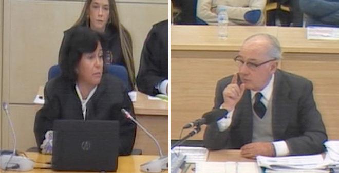 La fiscal Carmen Launa y Rodrigo Rato durante el juicio.