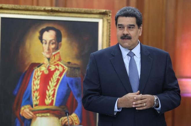 El presidente de Venezuela, Nicolás Maduro, asiste a una rueda de prensa en Caracas.
