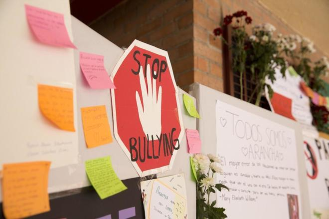 Carteles contra el acoso escolar en un colegio del sur de la capital donde se produjo un caso de 'bullying'.
