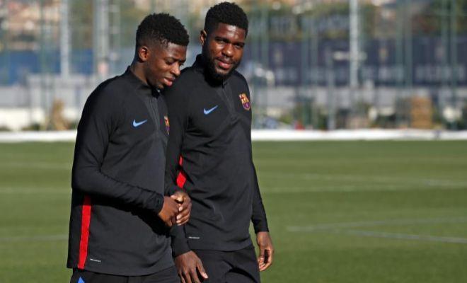 Dembélé y Umtiti, durante un entrenamiento reciente en Sant Joan Despí.