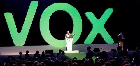 Santiago Abascal, en pleno mitin en el acto que Vox celebró en Madrid...