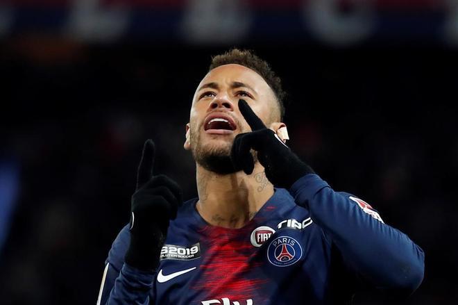 Neymar celebra un gol ante el Guingamp en la Copa de la Liga, aunque el PSG acabó eliminado.