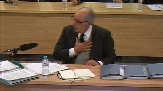 Señal de la Audiencia Nacional, durante la intervención del ex presidente de Bankia Rodrigo Rato.