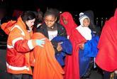 Familias de inmigrantes a su llegada el pasado 6 de enero a Motril...