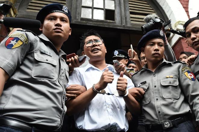 Uno de los periodistas encarcelados, Wa Lone, durante el juicio, en septiembre de 2018.