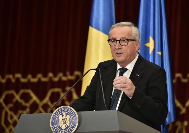 El presidente de la Comisión Europea, Jean-Claude Junker, en Bucarest.