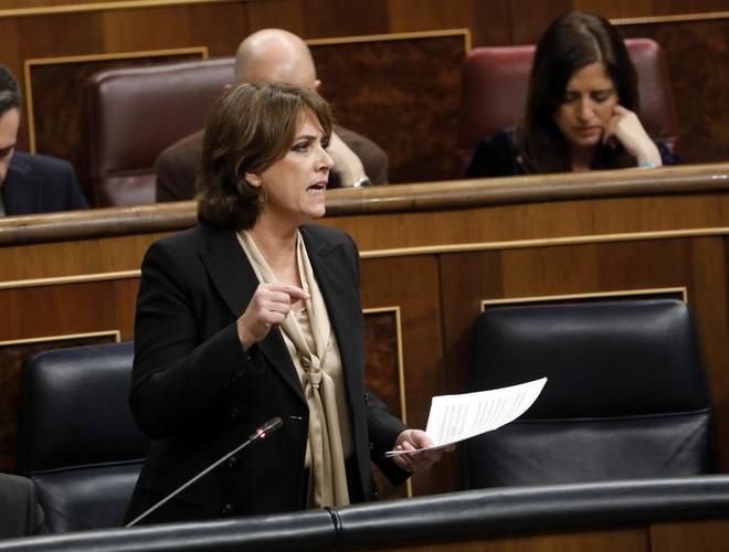 La ministra Dolores Delgado en el Congreso.