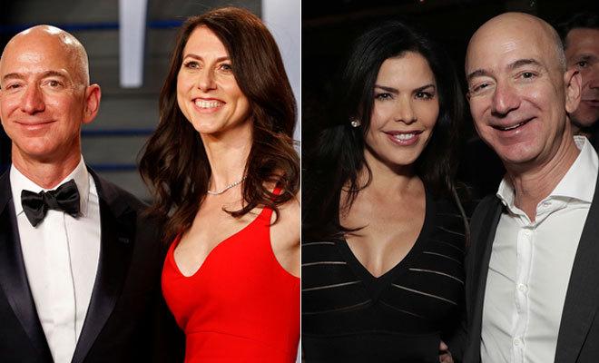 Bezos, con su esposa, Mackenzie Tuttle (i), y con su supuesta amante y nueva novia, Lauren Sánchez.
