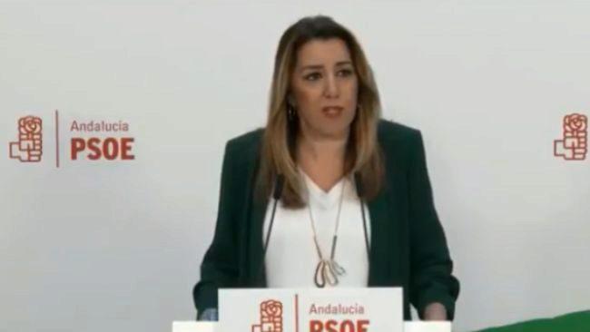 La presidenta andaluza en funciones, Susana Díaz, durante su...