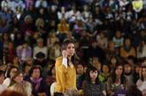 Irene Montero, portavoz de Podemos en el Congreso, durante un...