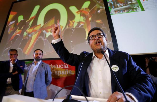 Francisco Serrano, portavoz de Vox en Andalucía, durante un acto de...