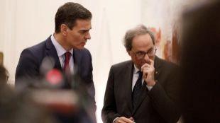 Pedro Sánchez y Quim Torra, durante su encuentro en Barcelona.