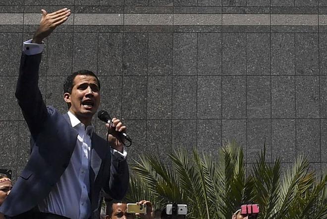 El presidente de la Asamblea Nacional, Juan Guaidó, hoy en Caracas.