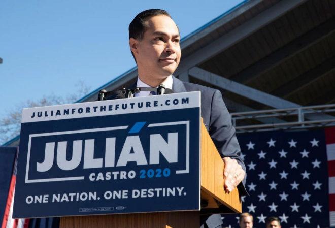 Julián Castro, durante el anuncio de su candidatura a la presidencia de Estados Unidos.