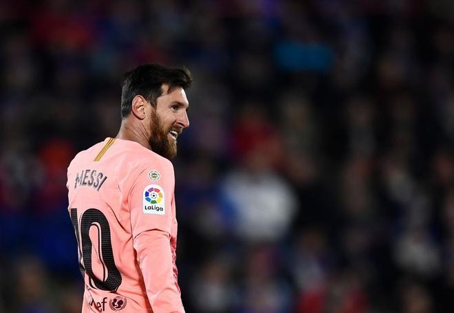 Messi, durante el partido del Barça en Getafe.