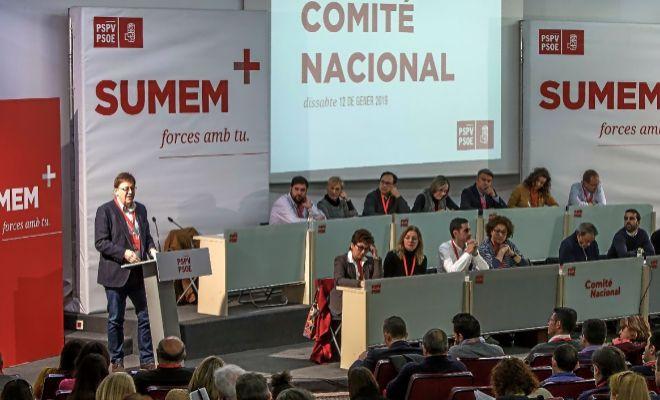 Uno de los momentos del comité nacional del PSPV-PSOE, ayer, en Valencia con 'Sumem' como lema.