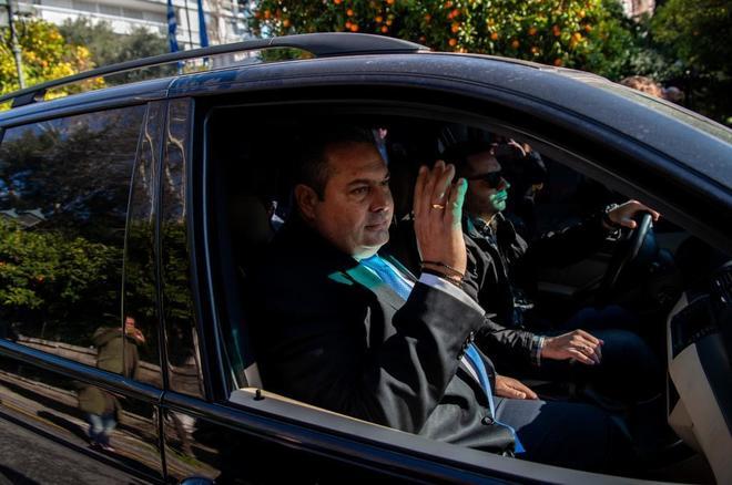 Panos Kammenos, líder de los nacionalistas Griegos Independientes, a su salida de la reunión con Alexis Tsipras.