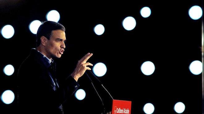 Pedro Sánchez, el sábado en Barcelona, durante su intervención en...