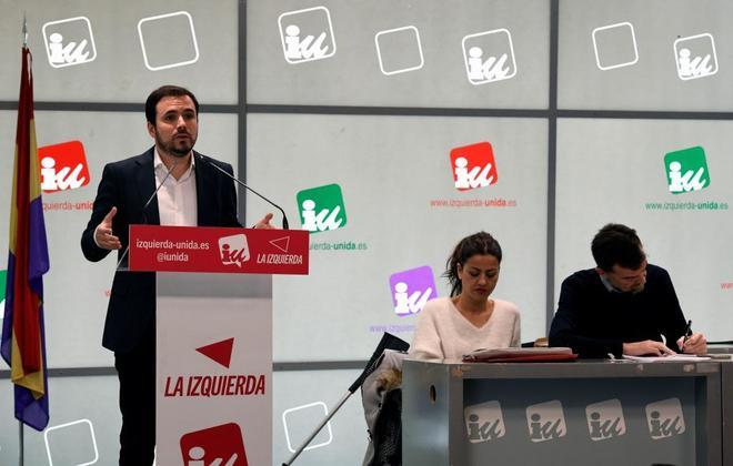 Alberto Garzón, coordinador de IU, durante la reunión de la dirección de la formación.