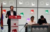 Alberto Garzón, coordinador de IU, durante la reunión de la...