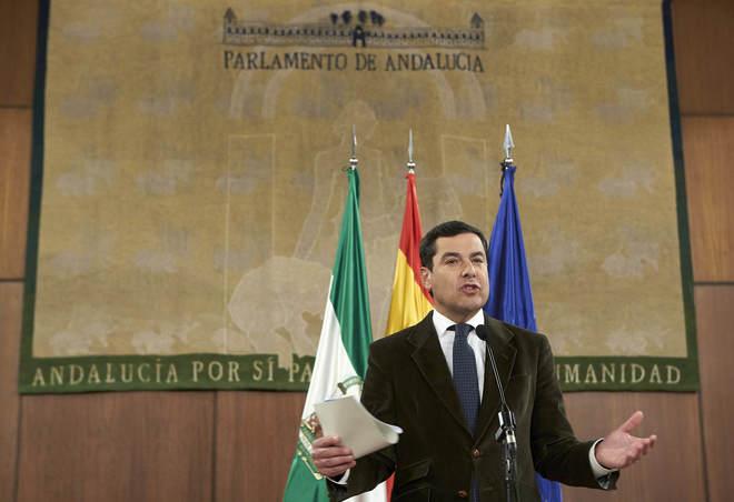 Juan Manuel Moreno, en el Parlamento andaluz la semana pasada.