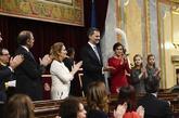 Los Reyes de España y sus hijas, durante los actos de celebración...