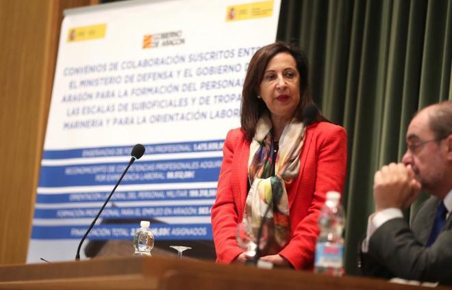 Margarita Robles, ministra de Defensa, durante un acto en la Academia...
