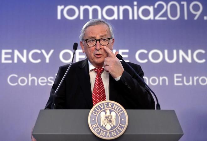 .El presidente de la Comisión Europea, Jean-Claude Juncker,  en Bucarest, el pasado día 11.