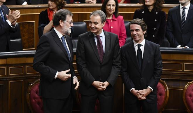 Los ex presidentes del Gobierno, Mariano Rajoy, José Luis Rodríguez...