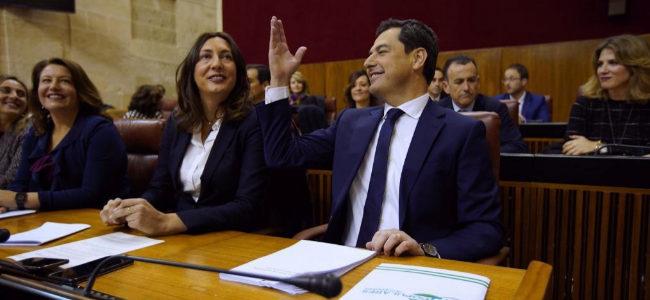 Juan Manuel Moreno, momentos antes de su discurso.