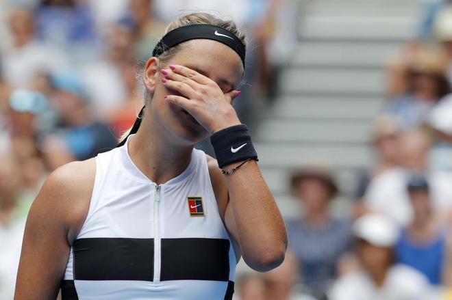 Azarenka, durante el partido de primera ronda del Open de Australia ante Laura Siegemund.