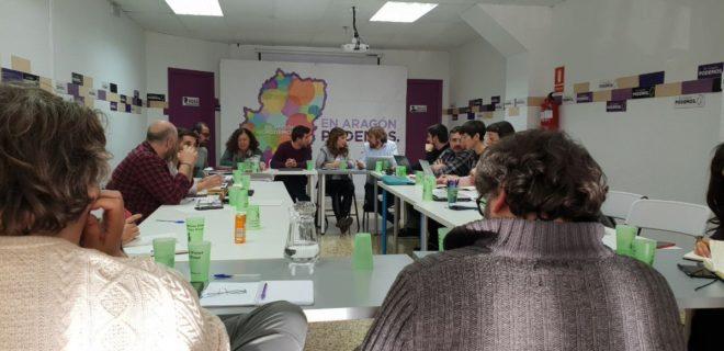 Miembros de direcciones autonómicas de Podemos, reunidos en Zaragoza