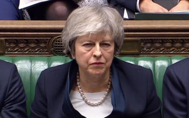 Theresa May, en el debate sobre el Brexit en el parlamento de Westminster.