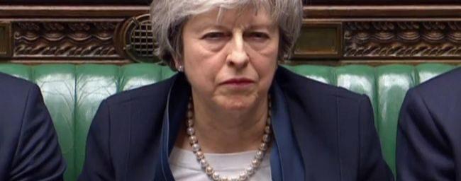 Theresa May, en el debate sobre el Brexit en el parlamento de...