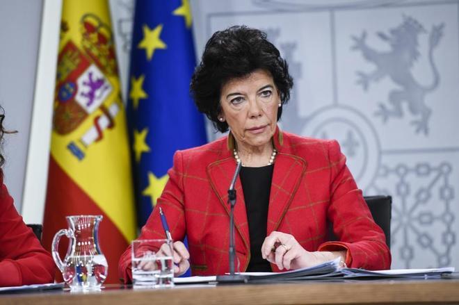 La ministra de Educación, Isabel Celaá, durante el último consejo...