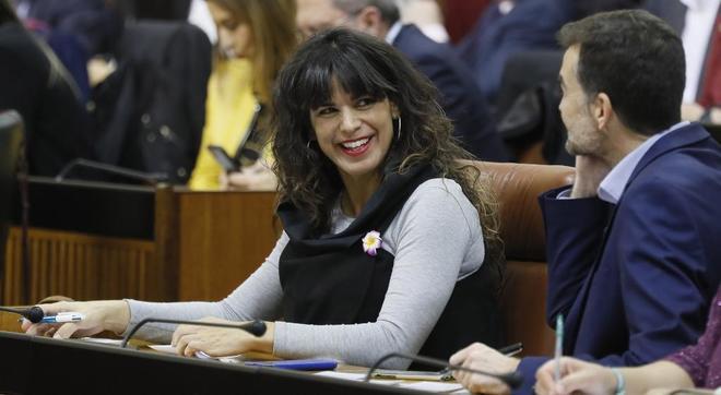 La líder de Adelante Andalucía, Teresa Rodríguez, este martes en el Parlamento de Andalucía.
