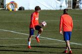Antoine Griezmann durante un entrenamiento con el Real Madrid