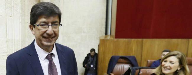 Juan Marín, antes de su intervención en el Parlamento andaluz.