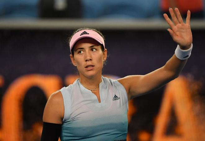 Garbiñe celebra su triunfo ante Johanna Konta, en el Open de Australia.