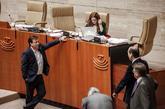El presidente de Extremadura, Guillermo Fernández Vara, en el pleno...