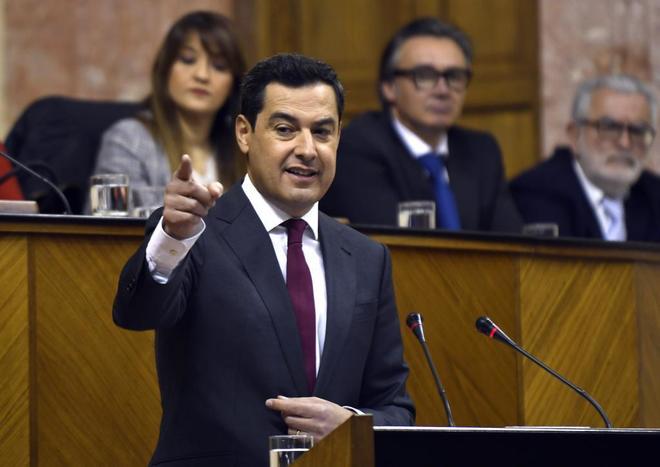 El presidente de la Junta de Andalucía, Juan Manuel Moreno Bonilla.