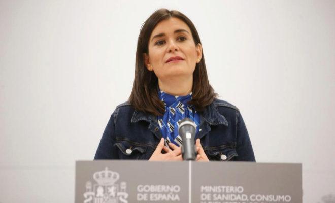 Carmen Montón, en el momento en el que anunció su dimisión como ministra de Sanidad.
