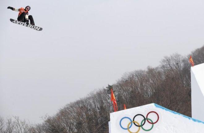 Parrot, durante la final de slopestyle de los Juegos de Pyeongchang.