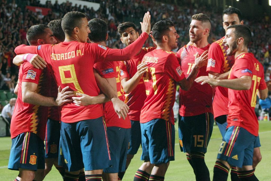 Jugadores de la Selección española de fútbol en un partido.
